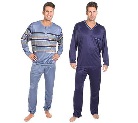 MEN'S TOUCH MF Jersey Interlock 2 Pyjamas 1/1 Arm 1x Rundhals 1x V-Ausschnitt