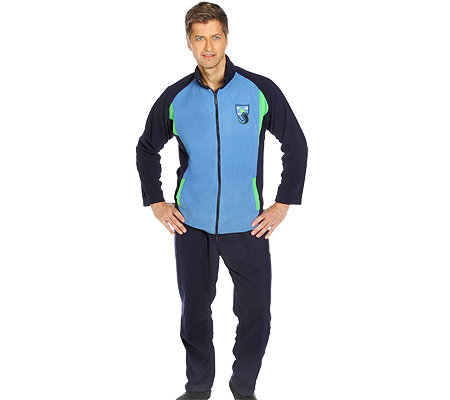 MEN'S TOUCH Mikrofaser Fleece Hausanzug, 1/1 Arm Brustapplikation Farbteiler