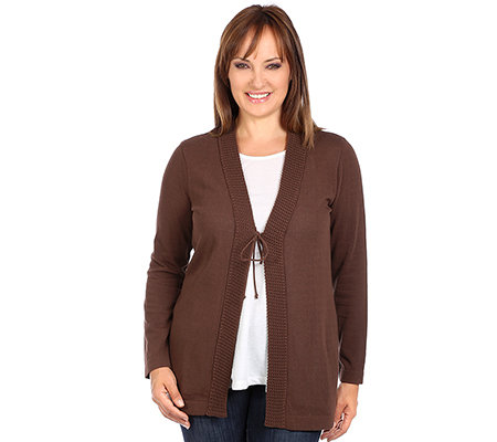 VIA MILANO PLUS Strickcardigan 1/1-Arm Front mit Bindeband