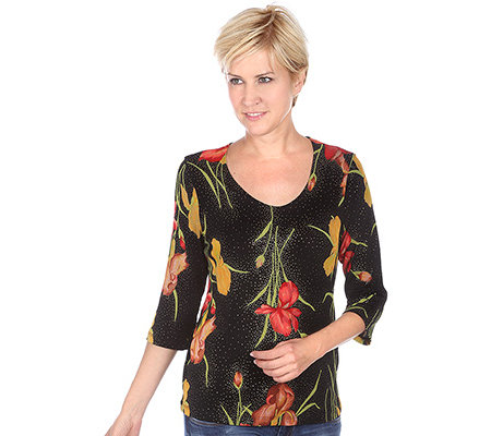 KIM & CO. Slinky-Qualität Shirt, 3/4-Arm Floraldruck allover Glitter