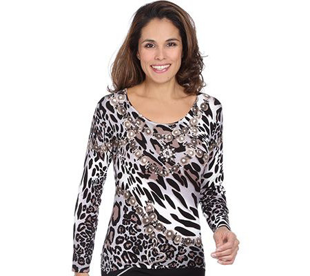 ART & COLOUR Pullover, 1/1-Arm Rundhalsausschnitt Ketten-Animaldruck