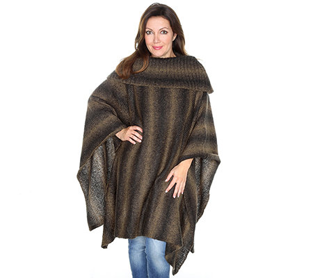 DENIM & CO. Poncho Rollkragen Melange-Optik