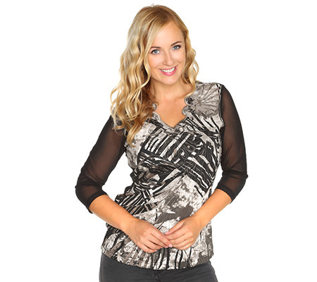 DONNA MODAR Jersey-Shirt 3/4-Arm Meshärmel Strassapplikation