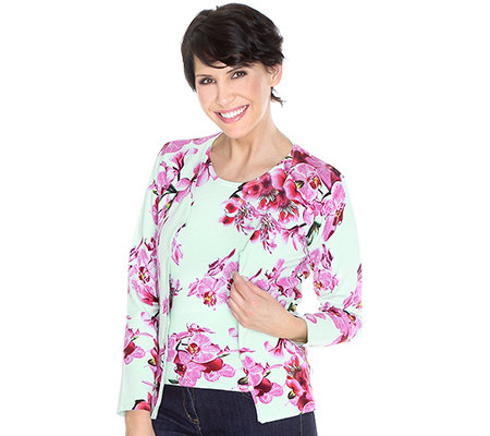 ART & COLOUR Twinset Cardigan, 1/1-Arm Pullover, 1/2-Arm Orchideen-Druck