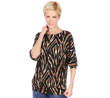 KIM & CO. Brazil-Knit-Jersey Shirt, 3/4-Arm U-Boot Ausschnitt Tiger-Druck
