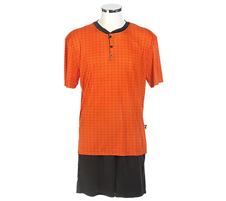 MEN'S TOUCH Mikrofaser Shorty, 1/2-Arm Knopfleiste bedrucktes Shirt