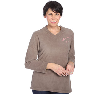 POLARSTERN HOMEWEAR MF Flanell Fleece Shirt, 1/1-Arm V-Ausschnitt Zierstickerei