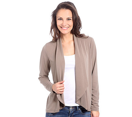 KIM & CO. Stretch Crepe Cardigan, 1/1-Arm Schalkragen uni