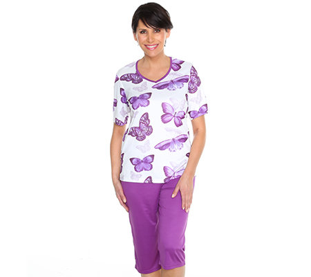 JERYMOOD HOMEWEAR MF Jersey Interlock Pyjama, 1/2-Arm Schmetterlings-Druck Caprihose
