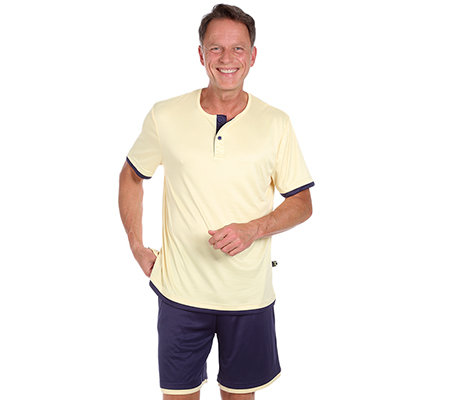 MEN'S TOUCH MF Jersey Interlock Shorty, 1/2-Arm Rundhalsausschnitt Knopfleiste