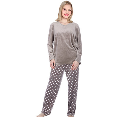 NICKYMOOD MF Nicky Pyjama, 1/1-Arm V-Ausschnitt gepunktete Hose