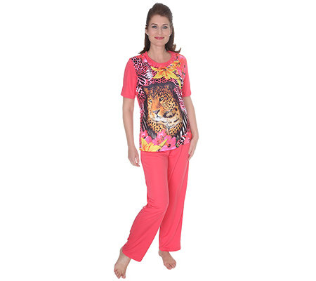 LITTLE ROSE MF Jersey Interlock Pyjama, 1/2-Arm Rundhalsausschnitt Fotodruck