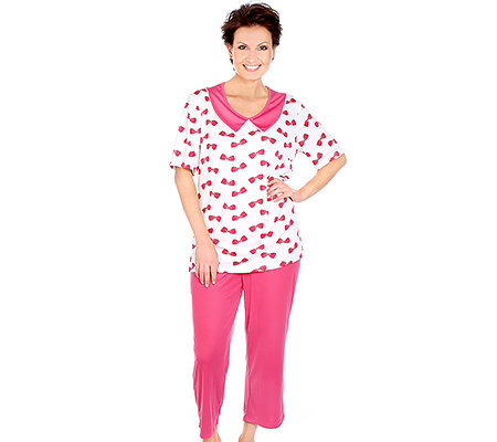 LITTLE ROSE Mikrofaser Pyjama, 1/2-Arm Kragen Schleifendruck