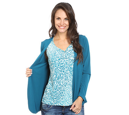 KIM & CO. Brazil-Knit-Jersey Twinset Top, Feder-Druck & Cardigan 1/1 Arm, uni