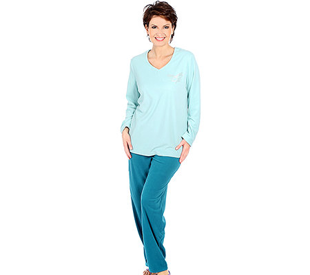 POLARSTERN HOMEWEAR MF Flanell Fleece Pyjama, 1/1-Arm V-Ausschnitt Strassapplikation