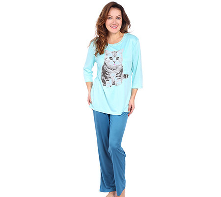 LITTLE ROSE MF Jersey Interlock Pyjama, 3/4-Arm Rundhalsausschnitt Katzenmotiv