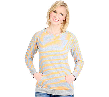 DENIM & CO. Sweatshirt, 3/4-Arm Rundhalsausschnitt Ringel-Dessin Melange-Optik