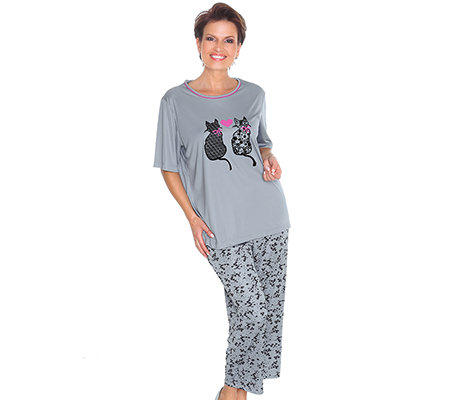little rose mf pyjama 1 2 arm katzenmotiv bedruckte hose. Black Bedroom Furniture Sets. Home Design Ideas