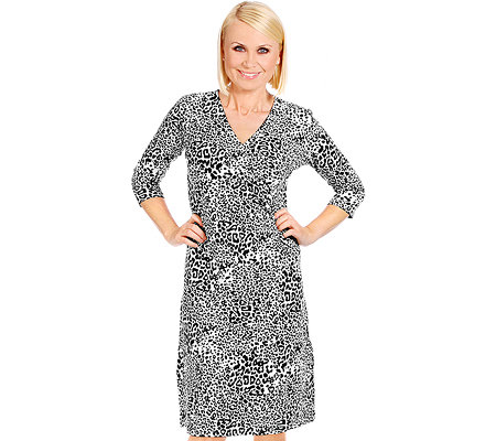 DENIM & CO. Kleid 3/4 Arm V-Ausschnitt Raffdetail Animal-Druck