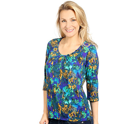 KIM & CO. Brazil-Knit-Jersey Shirt, 3/4-Arm Zierknöpfe Aquarell-Druck