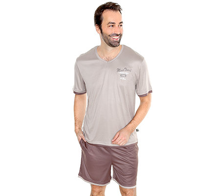 MEN'S TOUCH MF Jersey Interlock Shorty, 1/2-Arm V-Ausschnitt Druck