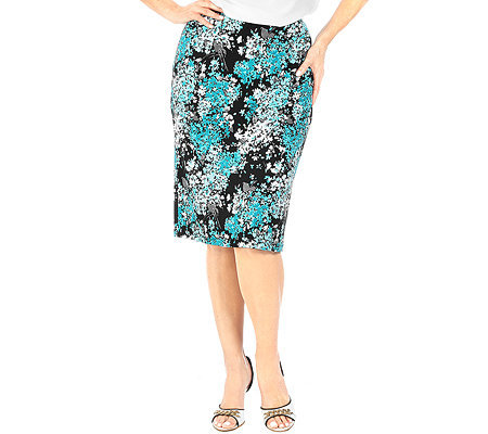 KIM & CO. Brazil-Knit-Jersey Rock gerade Form Floral-Druck