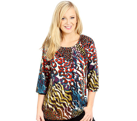 KIM & CO. Brazil-Knit-Jersey Shirt, 3/4-Arm Carmen-Ausschnitt Animal-Druck
