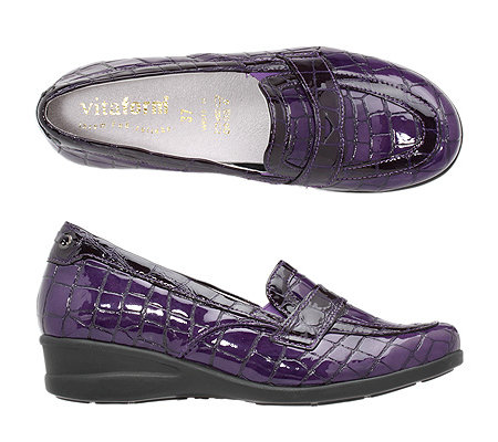 VITAFORM Damen-Slipper echt Leder Stretchmaterial Kroko-Optik