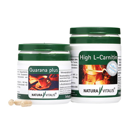 NATURA VITALIS Guarana plus & High L-Carnitin 2x 120 Kapseln für 2 Monate