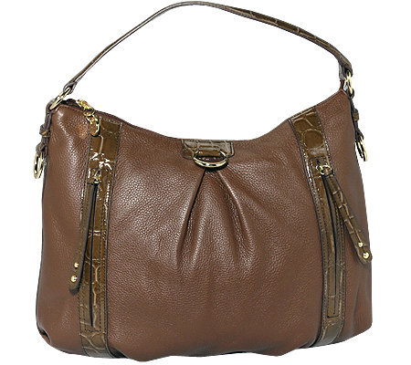 MAXX NEW YORK Shopper echt Leder 2 Frontzipper Kroko-Details