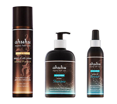 ahuhu organic hair care Hydro Shampoo, Hydro Booster & Boost-it up Spray