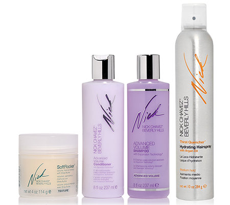 NICK CHAVEZ Super Styling-Set Volumen Shampoo Conditioner, Soft Flocker & Haarspray