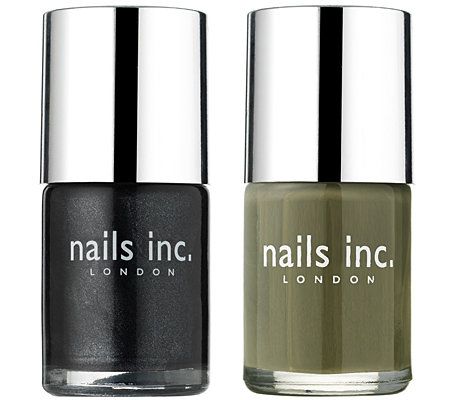 NAILS INC. Nagellack-Duo khaki & schwarz-metallic je 10ml