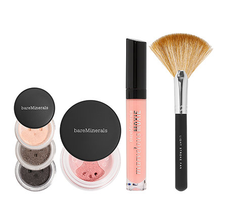 bareMinerals® Color Theory, Lidschatten, Rouge, Lipgloss, Pinsel & Tasche, 6-tlg.