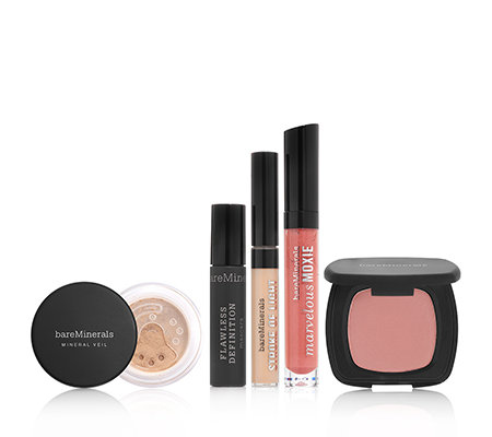 bareMinerals Makeup Set 5tlg. mit Mascara, Lipgloss & all over Face Color