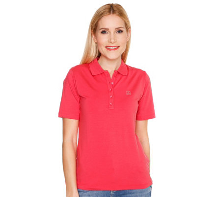 JETTE Designermode Polo-Shirt 1/2-Arm Strass-Logo Pima Cotton