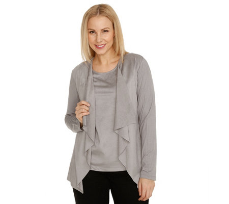 VIA MILANO Cardigan, 1/1-Arm offene Front Materialmix Veloursleder-Optik
