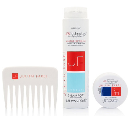JULIEN FAREL Hydrate Shampoo, Flexible Paste & Kamm Set, 3tlg.