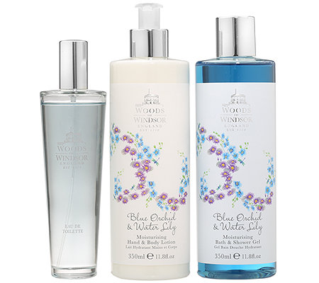 WOODS of WINDSOR Duftset Blaue Orchidee & Seerose 3tlg.