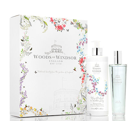 WOODS OF WINDSOR blaue Orchidee & Seerose Eau de Toilette 100ml Körperlotion 350ml