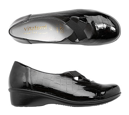 VITAFORM Damen-Slipper Lackleder/Stretch Elastikbänder Keilabsatz ca. 3,5cm