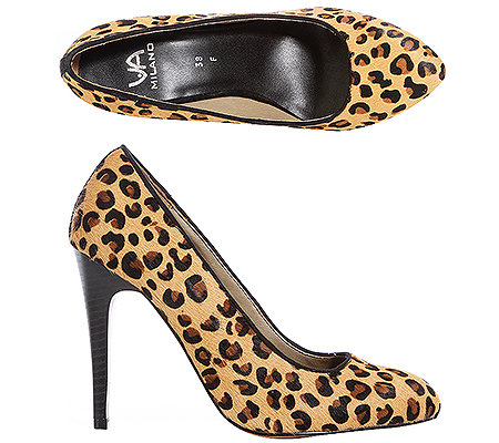 VIA MILANO Pumps Fell-Applikation Leo-Optik Absatz ca. 10cm