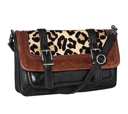 THE SAK Mini-Handtasche echt Leder Fell-Applikation Leopard-Optik