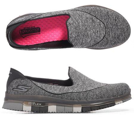 skechers damen slipper go flex walk textil goga mat sohle. Black Bedroom Furniture Sets. Home Design Ideas