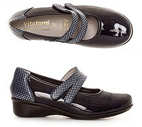 VITAFORM Mary-Jane Ballerina Stretch/Leder Metallic-Details Absatz ca.3cm - 317557
