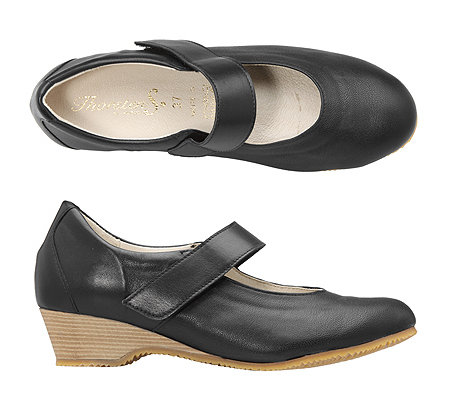 THORSTEN S. Vitaform Mary-Jane-Pumps Leder & Stretch Keilabsatz ca. 4cm