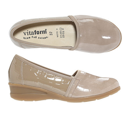 VITAFORM Damen-Slipper Leder & Stretch Krokolack-Optik Keilabsatz ca. 3,5cm