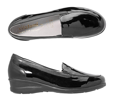 VITAFORM Damen-Slipper Leder/Stretch Lack-Optik Shock-Absorber