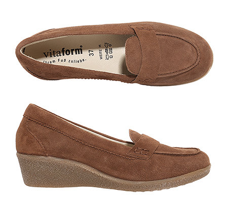 VITAFORM Damen-Slipper Veloursleder Mokassinnaht Absatz ca. 4cm