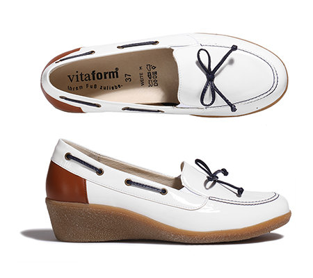 VITAFORM Damen-Slipper Leder & Stretch Keilabsatz ca. 4cm